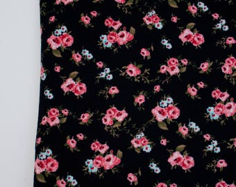 Black Floral Ponte De Roma Knit Fabric by the yard