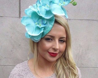 Mint Green Turquoise Orchid Flower Fascinator Hat Hair Clip Races Wedding 3251