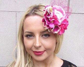 Hot Pink Hydrangea Peony Camellia Flower Fascinator Hair Clip Net Wedding 3384