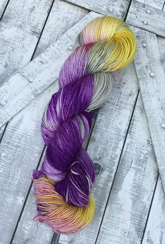 Sock Yarn - The Boho Life,Hand Dyed Yarn,Indie Dyed Yarn,Fingering Weight,80/20 Superwash Merino Nylon,Bohemian Colors,Toad Hollow Yarn