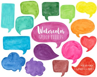 Speech Bubble Clipart. Watercolor Speech Bubble Clip Art. Hand Painted Thought Bubble Illustration. Colorful Watercolor Comic Speech Bubbles