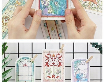 Vintage Style Stained Glass Postcard Set  - 30 Cards, A083