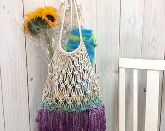 Ombre Purple Turquoise Eco-Friendly Macrame Bag, Cotton Reusable Shopping Bag, Earth-Friendly Shopping Bag, Macrame Bag, Housewarming Gift