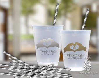 Frosted Cups | Personalized Wedding Cup | Monogrammed Cups | Heart Palm | social graces Co.