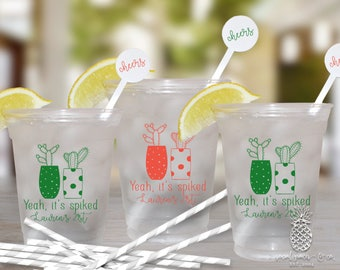 Cactus Party   Customizable Clear Disposable Cups   Birthdays, Weddings, Engagement Bridal Parties or Baby Shower   social graces and Co