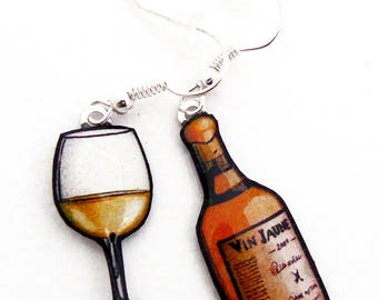 Yellow wine bottle and corkscrew earrings