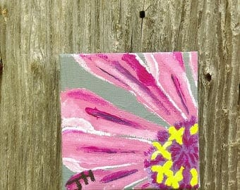 "Acrylic painting on magnet canvas ""Lollypop Zinnia"" #1"