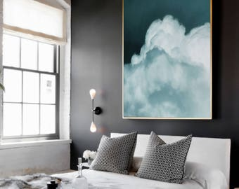 Cloud Painting, Abstract Art Print, Abstract Giclee, Green Teal Aqua White, Modern Art Abstract, Painting, Abstract Expressionist Art