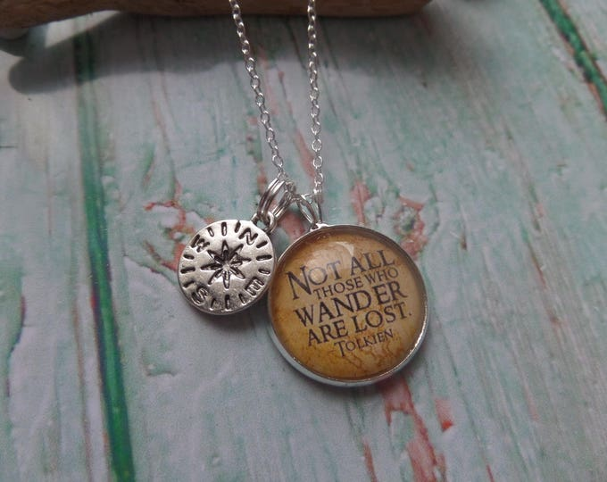"""Lord Rings themed 20mm Glass Dome Necklace """" not all who wander are lost """", compass necklace, wander lost gift, rings necklace, fandom"""