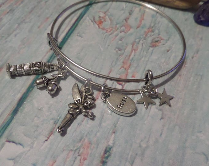 tinkerbell bangle, fairy bracelet, peter pan gift, pan charm bangle, peter bracelet, peter wendy, fan jewellery, jewelery gift, thimble
