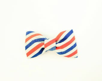 Vintage Red White Blue Stripe 4th of July Independence Day Dog or Cat Collar Bow Tie
