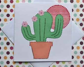 Cactus Card - Greetings Card - Birthday Card - Handmade - Glitter and Pearls - Bobble and Button