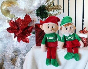 Personalized Elf  - Kids stocking stuffer - Personalized plush Elf - Monogrammed Elf - Boy Elf - Girl Elf -Christmas Elf -Santa's Elf -moose