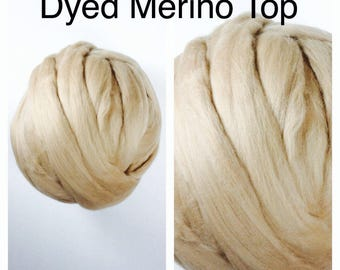 Cafe Au Lait Merino Top / Dyed Merino Roving / Beige Merino Felting / 1lb / 16oz