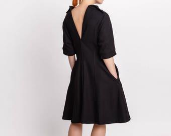 Elegant woman's dress / Open back side pockets unusual dress / Designer wool dress / Vintage inspired sexy dress / Fasada 18007