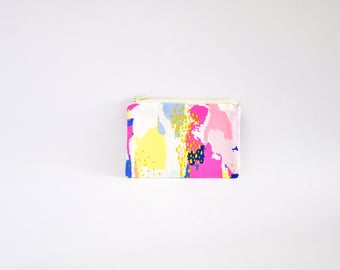 Small Coin Purse, Change Purse, Coin Pouch, Zipper Pouch, Makeup Pouch, Cosmetic Pouch, Card Pouch, Card Holder - Multicolour Abstract Art