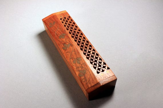 Wooden Pencil Box, Pen Box, Jewelry Box, Trinket Box, Lattice Cut, Gold Floral Inlay, Hinged Box, Mahogany