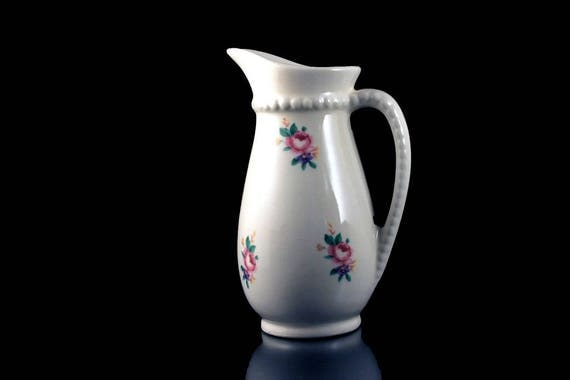Small Pitcher, Royal Copley, Floral Decal, Creamer, White