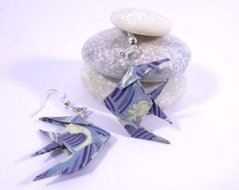 Blue waves Origami fish earrings