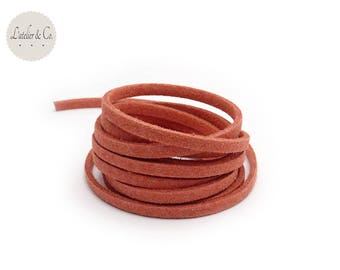 1 m suede rust 3 mm x 1.5 mm suede cord
