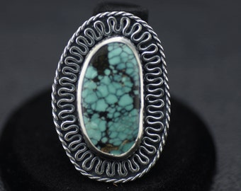 Hubei Turquoise Ring With Floral Band US Size 7.5