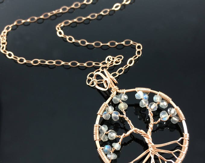 Rose Gold Labradorite Necklace • Tree of Life Pendant • Rose Gold Jewelry • Labradorite Pendant • 15th Anniversary • Gift for Her • Libra