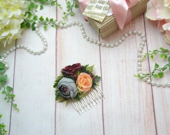 Gift/for/wife Burgundy flower comb Bridal flower comb Wedding comb Flower girl comb Bridesmaid comb Floral comb Burgundy comb Hair comb