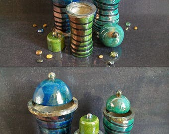 ceramic canister set, raku pottery jar with lid, modern jars, kitchen jars, set of jars, raku lidded jar, striped jar, kitchen canisters