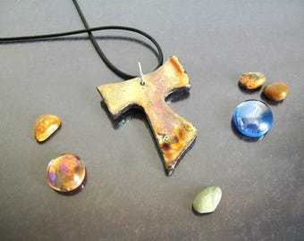 raku Tau Cross Pendant, ceramic cross necklace, franciscan cross, religious cross, gold tau cross, saint francis first communion cross