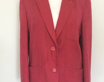 Vintage Irish Linen jacket 90s Paul Costelloe Dressage Made in Ireland Raspberry blazer jacket size medium