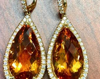18K Citrine & Diamonds Earrings Item112
