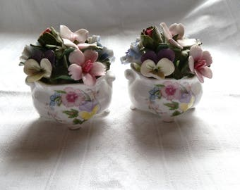 Pair of Vintage Aynsley WILD TUDOR Fine Bone China Hand Painted & Hand Modelled Flower Bouquets / Floral Arrangement, Made in England
