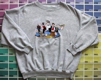 Vintage Popeye shirt   Popeye sweater   Popeye collectibles   Popeye the Sailor Man shirt   EC Segar Popeye Sweet Pea   Blitzz Studios brand