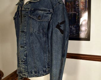 Immaculate Mens Vivienne Westwood Anglomania BIG LOGO Distressed Denim Jacket RRP 270 Size Large
