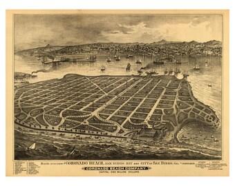 Vintage Map of Coronado Beach California San Diego County - Wall Art - Poster Print - Americana - Old Maps and Prints - Hotel Del Coronado