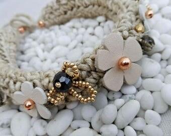 Crochet Linen Chanel Style Bangle Bracelet,One of a Kind Linen and Leather Cuff Bracelet,Modern Boho Bracelet  -0925140717-