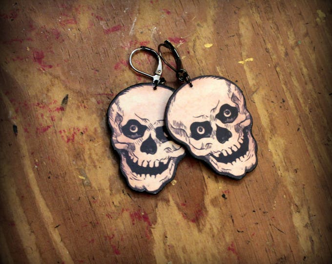 Skull Earrings - Skull Jewelry - Laughing Skull - Vintage Skull Art - Halloween Skull - Recycled paper earrings - Paper Earrings - Unique