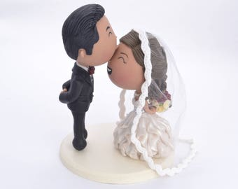 Cute couple kiss. Wedding cake topper. Wedding figurine. Handmade. Fully customizable. Unique keepsake