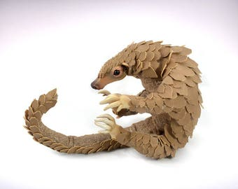 Faux 'Vegan' Taxidermy Pangolin Handmade OOAK Art Doll - Endangered Species, Charity Listing,