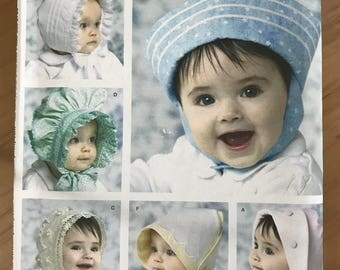 Simplicity 3840 - Shirley Botsford Designs Baby Hats, Sailor Cap, and Prarie Style Bonnet - S M L