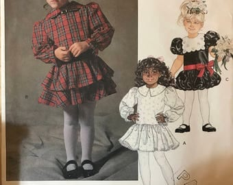 Vogue 2147 - 1980s Little Girl's Dress with Flared Skirt and Tier and Bubble Hem Option - Size 2 3 4