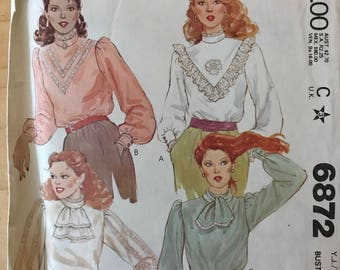 McCalls 6872 - 1970s Back Button Blouse with V  Front Lace Trim, Jabot or Ascot - Size 13 14 Bust 33.5