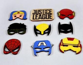 Set of magnets Justice League hand painted fridge, superhero, Wonderwoman, Batman, Spiderman, Hulk, Iron Man, Flash