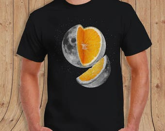 Lunar fruit t shirt orange moon Shirt Black- t-Shirt Mens