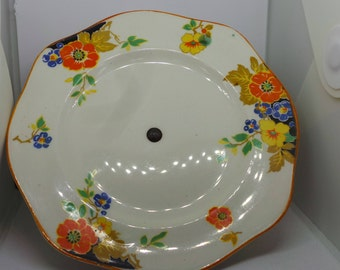 Deco pattern china cake stand, vintage cake plate with chrome stand