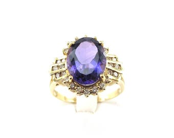14K Yellow Gold Diamond And Amethyst Ring - Gemstones Ring Size 10 1/2