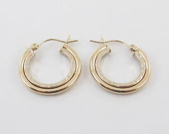 14k Yellow Gold Hoop Earrings - Yellow Gold Diamond Cut Hoops 1.9 grams