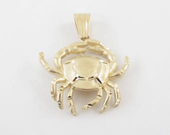 14k Yellow Gold Crab Charm Pendant - 14k  Solid Yellow gold Crab