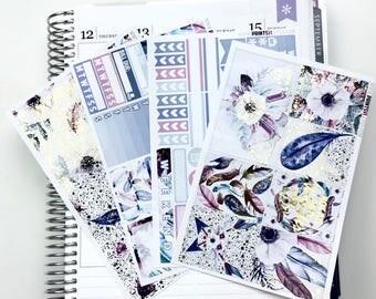 FOILED Boho Feathers Mini Planner Sticker Kit, 4 Sheets