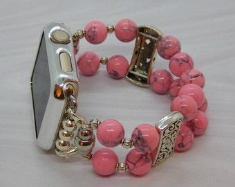Neon Pink Beads - Apple Watch Band 42 Apple iWatch Band Stretch Apple Band Beaded Watch Band Bracelet Apple Band Tech Jewelry Swarovski